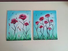 Poppy Painting On Canvas Board, Red Poppies Scenic Tuscany Surreal Fantasy Art £30.00