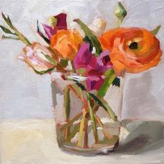 "Daily Paintworks - ""Ranunculus and Roses"" - Original Fine Art for Sale - © Amy Schimler-Safford"
