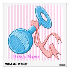 This cute Girl Baby Rattle Square Wall Decal features a light pink and white striped background that is customizable, light blue baby rattle...