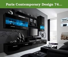 "Paris Contemporary Design 74.8x98.4x17.7-Inch Wall Unit with LED, Black. Comfortable Modern Wall Unit - contemporary entertainment sets. Living room Wall unit perfect for those who need a lot of storage space and a modern look. Quality materials, easy to clean. Various color compositions to choose from. Dimensions: Height - 190 cm - 74,8"" // Width - 250 cm - 98,4"" // Depth - 45 cm - 17,7"" // Height / Width / Depth // 1 Low Floor/TV Cabinet with 3 drop down doors: 35/150/45 cm -..."