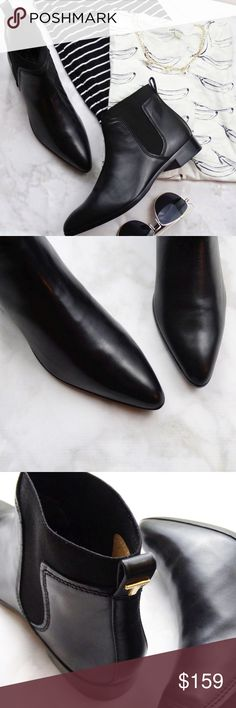 Ted Baker Black Leather Pointed Chelsea Boots Details: * Size 9 * Leather * Elastic insets * Pull on style with pull tabs at back * Pointed toe * Brand new in box  09131603 Ted Baker London Shoes Ankle Boots & Booties