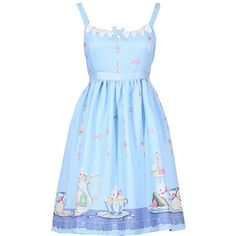 Partiss Womens Teapot Rabbit Printed Sweet Classic Lolita Dress ($25) ❤ liked on Polyvore featuring dresses, rabbit dress and blue dress