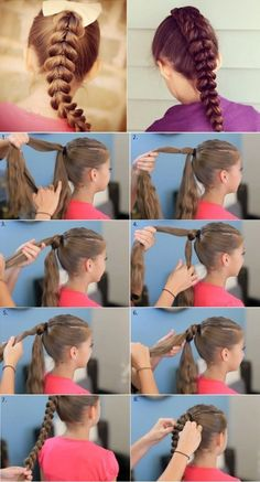 13 Tutos of easy hairstyles for little girls - Guide Astuces - - 13 Tutos de coiffures faciles pour petites filles Braided ponytail. 13 Tutos of easy hairstyles for little girls -Wonderful DIY Stylish Pull-Through Braid Hairstylenew way to braid your Little Girl Hairstyles, Pretty Hairstyles, Braided Hairstyles, Hairstyle Ideas, Choppy Hairstyles, Fast Hairstyles, Simple Hairstyles, Pull Through Braid, Braided Ponytail