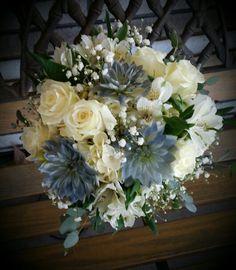 White and blue wedding bouquet Blue Wedding, Wedding Bouquets, Floral Wreath, Wreaths, Bride, Design, Home Decor, Style, Homemade Home Decor