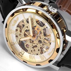 8791c1f80cf Classic Men s Gold Dial Skeleton Black Leather Mechanical Sport Watch  Veiling
