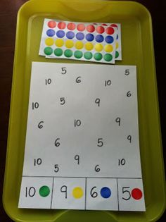 Stickers are placed on the numbers based on the color sticker designated on the key at the bottom. Addresses visual attention and discrimination.