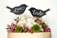 Wedding Chalkboards  Bring beautiful to your event with Love Bird Blank Chalkboard Cake Toppers ready to personalize for your wedding!
