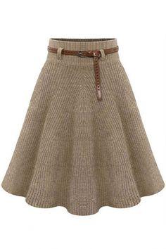 Solid Knee-Length Pleated Skirt - OASAP.com