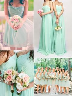 mint long one shoulder bridesmaid dress cheap chiffon bridesmaid dress online 2016 Wedding Mint Green, Summer Wedding Colors, Mint Green Bridesmaid Dresses, Salmon Color Wedding, Colors For Weddings, Blush Mint Wedding, Spring Wedding Dresses, Summer Wedding Flowers, Summer Wedding Ideas