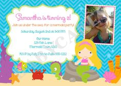 MERMAID PARTY Invitation Birthday Mermaid Pool by jcbabycakes, $11.00