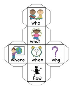 Comprehension Cube by Mrs N. --- This is a fun way to get children to ask each other questions about a text they have just read.  Students roll the dice and whichever face they land on they will need to ask a question focused on the key word on that face. Eg: if it lands on 'who', the student could ask, 'who were the main characters in the story?' or specific questions like 'who snuck behind the door to scare the teacher?'  Please leave feedback and/or rate this free resource. Much…