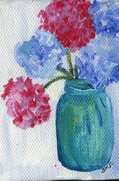 Hey, I found this really awesome Etsy listing at https://www.etsy.com/listing/192965529/hydrangeas-mini-painting-pink-and-blue
