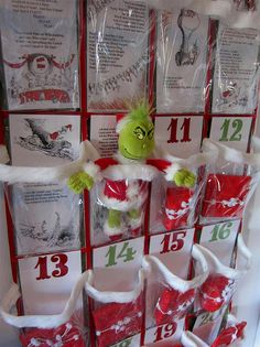 DIY Grinch-themed Advent calendar from a clear plastic over-the-door shoe organizer. So easy to adapt to other themes, good Christmas gift too! Whoville Christmas, Grinch Stole Christmas, Noel Christmas, Christmas Countdown, A Christmas Story, Winter Christmas, All Things Christmas, Christmas Ideas, Christmas Calendar