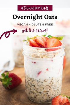 These strawberry overnight oats are the ultimate healthy make-ahead breakfast. They call for 5 minutes of prep time, 7 ingredients, and are packed with healthy fibre and protein. Plus, they're vegan friendly and gluten free. #overnightoats #healthybreakfast #vegan