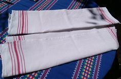 www.sophieladydeparis.etsy.com Set of Two Beautiful French waffle dish cloth. White kitchen towel with red stripes . Cotton made.  Good vintage condition . Size:  23 x 30 i... #antiquelinens #victorian #frenchlinens #sophieladydeparis #damask