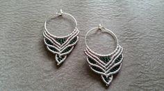 Tribal earrings, bohochic, grey green macrame earrings, tribal jewelry, micro macrame, handmade, Hippie earrings,  bollywood hoop earrings by JewelnKnit on Etsy https://www.etsy.com/listing/400554167/tribal-earrings-bohochic-grey-green