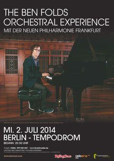 Ben Folds 2014 Poster. Tickets für Ben Folds bei Ticketmaster unter http://www.ticketmaster.de/event/ben-folds-Tickets/87469