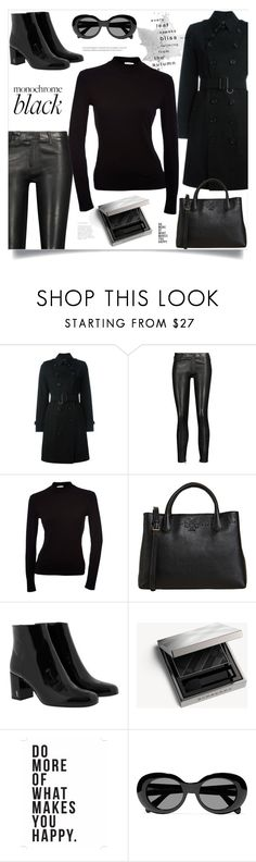"""""""Monochrome: All Black Everything"""" by ames-ym ❤ liked on Polyvore featuring Burberry, J Brand, Tory Burch, Yves Saint Laurent, Native State, Acne Studios and allblack"""