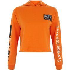 New Look Teens Bright Orange Phone Number Print Hoodie ($21) ❤ liked on Polyvore featuring tops, hoodies, bright orange, bright orange top, patterned hoody, hooded top, bright orange hoodie and orange top