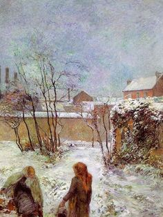 PAUL GAUGIN  1848-1903    ACHINGLY BEAUTIFUL WITH THE WARM COLORS AGAINST THE COLD, WINTERY SKY