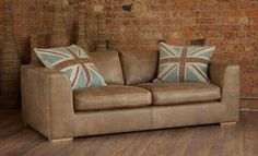 Looks so lovely against the exposed brick! Leather sofa from www.meyerandmarsh.co.uk  #livingroom #livingroomdecor #lounge #livingroomdesign #livingroomlayout #sofa #home