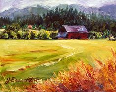 Print of Original Oil Painting LANDSCAPE Barn by JBeaudetStudios, $10.00