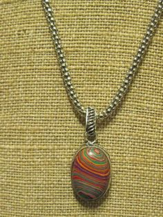 Rainbow Calsilica multi color stripes necklace