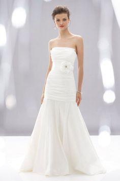 A-line floor-length taffeta bridal gown with zipper back