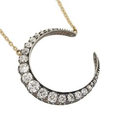 necklace - Victorian Sterling & 18kt Diamond Crescent