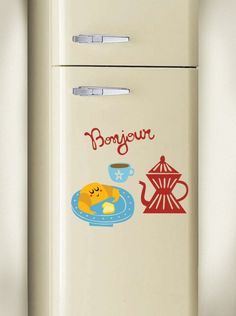 Bonjour  fridge wall sticker
