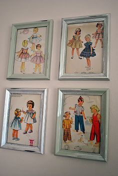 Framed vintage patterns-so cute! I have some old patterns & this is a perfect idea!