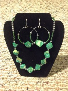 Green and Silver Beaded Seashell Nugget by JewelryByLinda0425, $40.00