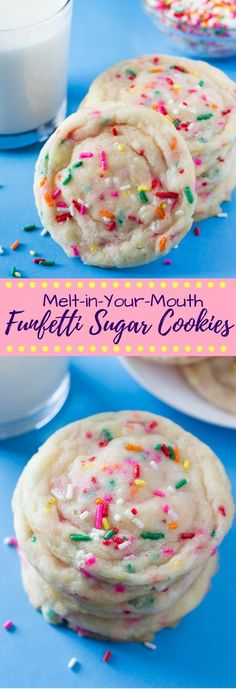 Cookies Soft, buttery Funfetti Cookies loaded with sprinkles and filled with happiness. So easy & so much better than using a mix!Soft, buttery Funfetti Cookies loaded with sprinkles and filled with happiness. So easy & so much better than using a mix! Funfetti Cookies, Funfetti Cookie Recipe, Sugar Cookies With Sprinkles, Sprinkle Cookies, Baking Cookies, Cake Baking, Mexican Food Recipes, Desert Recipes, Gastronomia