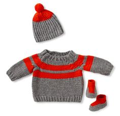 Striped cashmere baby layette for those super special holiday photo opps when reindeer sweatshirts won't do.