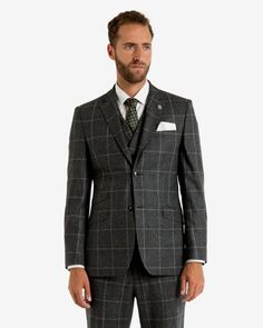 Checked wool jacket - Gray | Suits | Ted Baker