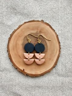 The Moon Phases in Granite Grey Moon Phase Polymer Clay Earrings Minimalist Geometric Statement