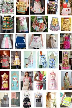 Quilt Inspiration: Free pattern day: 30 Aprons to whet your appetite Retro Apron Patterns, Apron Pattern Free, Vintage Apron Pattern, Aprons Vintage, Sewing Patterns Free, Dress Patterns, Sewing Ideas, Sewing Tutorials, Free Sewing
