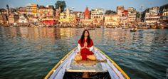 #yoga #india #Varanasi #ganga #lessons #travel #morning #boat #river #ghat #woman #om #omyoga #smriti