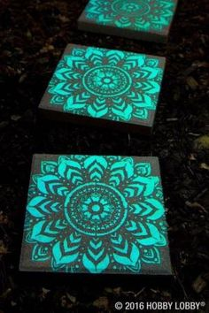 Stepping stones painted with glow in the dark paint. by jan