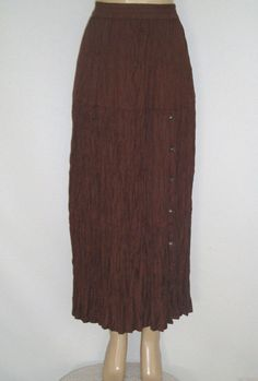 Long Crinkle Skirt MEDIUM by CRAZY COWGIRL NEW Never Worn Brown w/ Metal Accents #CrazyCowgirl #LongTieredCrinkle