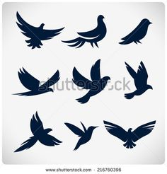 Set of flying birds sign. Dark silhouettes isolated on white. - stock vector