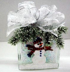 Snowman Block designed by Karen S., A.C. Moore Erie, PA #glassblock #winter
