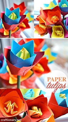 Mar 2020 - Make stunning origami tulip flower craft with instructions on how to make paper flowers for spring with video tutorial. How To Make Paper Flowers, Paper Flowers Diy, Flower Crafts, Origami Tattoo, Nylon Flowers, Tulips Flowers, Easy Paper Crafts, Crafts To Make, Fun Crafts