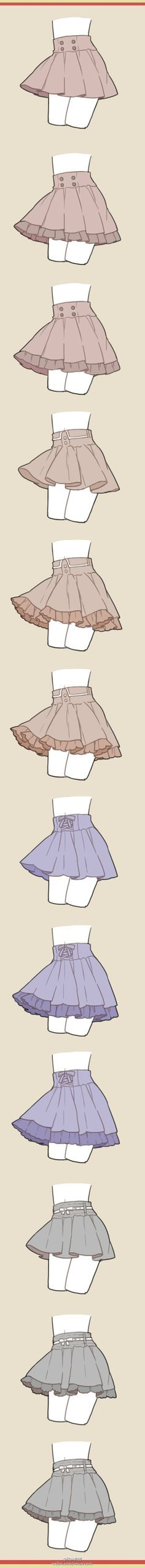 How to draw skirts - clothing drawing reference