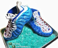 Breaking Bad Blue Meth inspired custom Nike Foamposites by Twizz Customs. #breakingbad #walterwhite #heisenberg #jessepinkman #bluemeth #rockcandy #customnikes #customsneakers #customshoes #breakingbadfanart