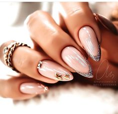 Nude Nails With Glitter, Pink Nails, Stylish Nails, Trendy Nails, Deer Nails, Sweater Nails, Pink Nail Designs, Minimalist Nails, Best Acrylic Nails