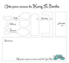 Cinta para caneca Kung Fu Panda - passo a passo em vídeo. #felt #feltro #pattern #handmade #kungfupanda #panda #selfmade #DIY #PAP #caneca #mug #hot Kung Fu Panda, Map, Handmade Crafts, Mugs, Step By Step, Tejido, Log Projects, Ideas, Location Map