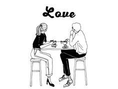 Outline Illustration, Simple Illustration, Black And White Illustration, Cartoon Girl Drawing, Girl Cartoon, I Love Coffe, Christmas Scenery, Human Icon, Web Banner Design