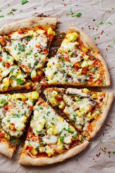 Sweet Chili Garlic Chicken Pizza - spicy sauce with chicken, pineapple pico de gallo, and melted cheese. 250 calories. | pinchofyum.com #spicy #pizza #recipe