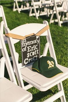 I came across this photo of a baseball hat on a chair and thought what a great idea to keep a loved one's memory alive after a funeral or celebration of life. Wouldn't it be great to ta…